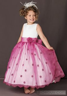 Ball Gown Jewel Floor Length Organza Flower Girl Dress Style - Silhouette:Ball GownNeckline:JewelGown by Sweet Beginnings Little Girl Outfits, Little Girl Dresses, Kids Outfits, Girls Formal Dresses, Cute Dresses, Robes Tutu, Elegant Ball Gowns, Flower Dresses, Kind Mode