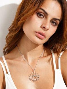 Silver Eye Shaped Pendant Necklace