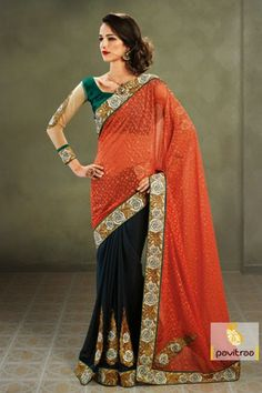 Orange and black party wear sarees gives gorgeous look for your any function with half barso, embroidery, stone work and elegant embroidery border work.