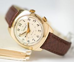 Men's watch Poljot alarm function gold plated men's by SovietEra