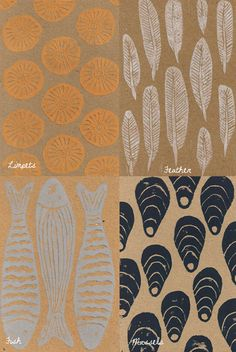 Five Handprinted Seaside Note Cards Mixed Pack by beckabonce, £9.00