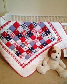 Baby crib quilt~ red~ white~ blue~ baby patchwork quilt~ boy quilt~ gingham~ quilted baby blanket~ baby quilt handmade~ from AngiesPatch. Quilt Baby, Quilted Baby Blanket, Baby Patchwork Quilt, Cot Quilt, Crazy Patchwork, Blue Quilts, Mini Quilts, Christmas Quilting Projects, Star Quilt Patterns