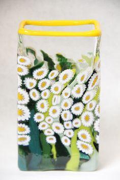 Clear Daisy Rectangle Vase #1