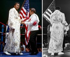 Good look at Ali wearing the sequined robe that Elvis Presley had made for him for 1973 fight vs. Joe Bugner.