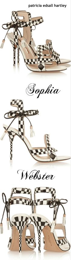 Sophia Webster ~ Black + White Leather Check Sandals