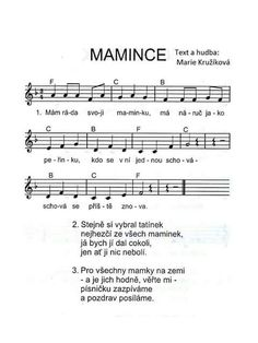 Mamince School Songs, Sheet Music, Kindergarten, Preschool, Teaching, Words, Presents, Stones, Gifts