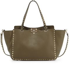 $2,495, Olive Leather Tote Bag: Valentino Rockstud Leather Tote Bag Olive. Sold by Bergdorf Goodman. Click for more info: https://lookastic.com/women/shop_items/216384/redirect