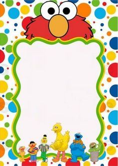 Blank sesame street invitation party ideas pinterest for Elmo template for invitations