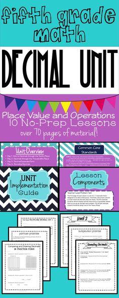 Fifth Grade Math 10-Day Decimal Unit: 70 Pages of No-Prep Lesson Materials, Covers all Decimal Place Value and Decimal Operations, 5.NBT.3, 5.NBT.4, and 5.NBT.7