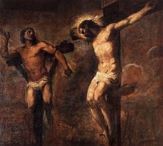 """<Penitent Thief> [""""But crucify, O judge, crucify, and having crucified, pity the man! And then I myself will come to you to be crucified, for I thirst not for joy, but for sorrow and tears!""""/p. 23] The ultimate human ideal Dostoevsky is attempting to convey through the novel is 'penitent thief,' as depicted in the work above by Titian. The humans' fundamental identity is defined as a 'sinner.' However, whether they repent or not is of a different matter-will you be a good thief or a bad…"""