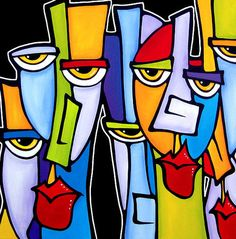 Popular - Original Large Abstract Faces Modern Art Painting by ...