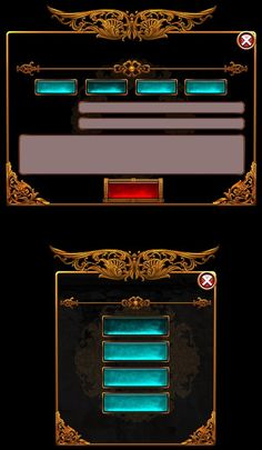Finely pixalated aquamarine gem encrusted hyperlinks and gray text bars, with an elegant ornamental border, on a black back ground, very striking! Game Design, Ui Design, Game Gui, Game Icon, Game Interface, Interface Design, Tower Defense, Mmorpg Games, Button Game