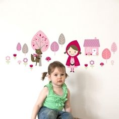Removable decals for the walls the 'Little Red' set makes a great addition to decorating the walls of any little girls room. #room #decorations