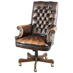 antique leather office chair. handsome leather executive chair with lovely worn patina from a unique collection of antique and office