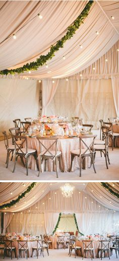 Wedding decor trend for 2014: Choose lush leaves over flowers! The green vine looks really good against all the neutral blush colors.
