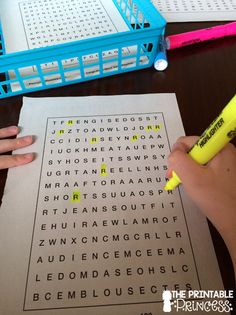 What a great idea to use Word Search books as an alphabet center. FREE letter cards on the blog.