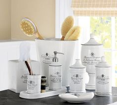 Black & White Apothecary Bath Accessories | Pottery Barn