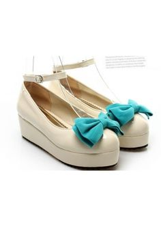 Beautiful Platform Shoes with Blue Bow Casual Shoes