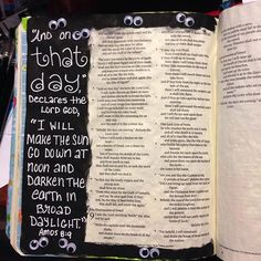 I'm really LOVING this page, because.who doesn't love a pair of googly eyes.or It took me three coats of watercolor paint to get the opaque black. I didn't have black acrylic paint. It makes me so thankful for Jesus and sunshine☀️ New Bible, Bible Art, Amos Bible, Black Acrylic Paint, Journal Inspiration, Journal Ideas, Lamentations, Illustrated Faith, Art Journaling
