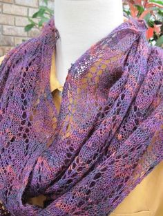 Winter Lace Loop is a lace weight infinity scarf you can wear doubled or as a single long loop. Have fun knitting and wearing this delicate multi-fashion lace accessory. HeartStrings pattern #H190