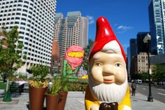 the boston garden gnome: dewey square/ os gemeos mural on the greenway