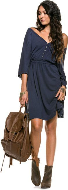 A versatile elastic waist dress by Arbor in navy blue. http://www.swell.com/SCORCHED-STYLE-2