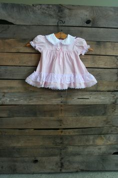 Vintage Children's Pale Pink Dress with White Lace by vintapod