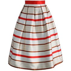 Chicwish Festive Ribbon Stripes Midi Skirt ($45) ❤ liked on Polyvore featuring skirts, beige, striped pleated skirt, knee length pleated skirt, pleated midi skirt, stripe skirt and calf length skirts
