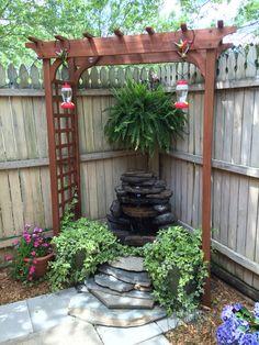 Fountain under our wedding arbor - Modern Design Garden Yard Ideas, Backyard Patio Designs, Small Backyard Landscaping, Lawn And Garden, Garden Projects, Corner Landscaping Ideas, Garden Art, Diy Projects, Corner Garden