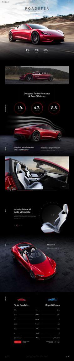 Concept: Tesla Roadster by Flatstudio Site Web Design, Ui Ux Design, Tesla Roadster, Web Layout, Layout Design, Paginas Webs, Template Web, Car Ui, Affinity Designer