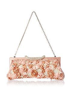 aa9c1a876abf Bead trimmed satin blooms highlight this luxe satin clutch featuring an  inner slip pocket and a drop-in chain link strap
