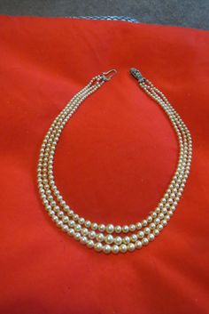 vintage pearl necklace, 3 strand pearl bead necklace, graduated pearls, simulated pearls, bead necklace, marcasite clasp. art deco wedding by VintageBlingAndBags on Etsy