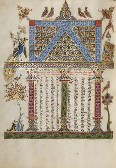 Canon Table Page (Getty Museum) Medieval Manuscript, Medieval Art, Renaissance Art, Illuminated Manuscript, Illuminated Letters, Medieval Paintings, Google Art Project, Byzantine Art, Getty Museum