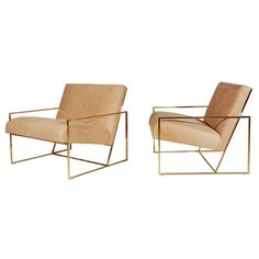 Brass Thin-Frame Chairs | From a unique collection of antique and modern lounge chairs at https://www.1stdibs.com/furniture/seating/lounge-chairs/
