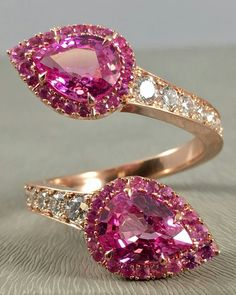 The newest color variety of our take on the bypass ring - pink sapphire in 18k rose gold.  How sweet is this?  #OhMyOmi @omiprive