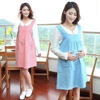 Patchwork False two maternity dress plus size Korean Style pregnancy mini dress Dot Print maternity wear V-Neck pregnant dress