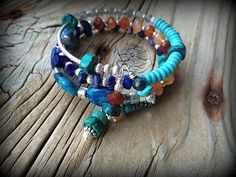 Decadent Sterling Silver Turquoise and Gemstone wrap bracelet by barbmallonjewelry, $50.00