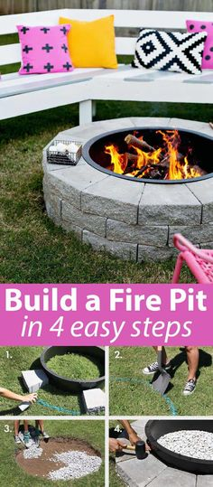 Backyard Projects, Cool Diy Projects, Outdoor Projects, Outdoor Ideas, Backyard Ideas, Project Ideas, Cheap Fire Pit, Easy Fire Pit, How To Build A Fire Pit