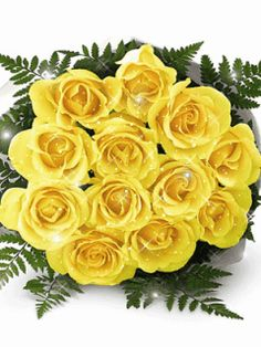 Yellow Rose glitter graphics | Glitter Graphics » Flowers and trees » yellow rose boquet