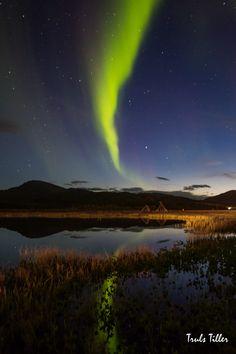 Auroras boreales en Tromsø, Noruega.-