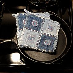 Pieced Denim Potholders .