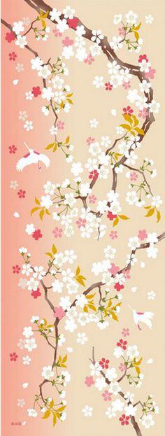 Japanese Tenugui Cotton Fabric, Cherry Blossoms, Crane, Sakura Flower, Hand Dyed Fabric, Art Wall, Home Decor, Scarf, Spring Wall Decor,h301