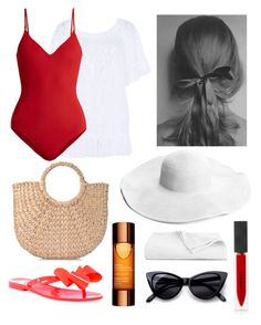 """Beach"" by berylarslan ❤ liked on Polyvore featuring Banana Moon, On the Island, Melissa, Retrò, Burberry, Clarins, Luxor Linens, vintage, red and retro"
