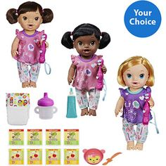 Your choice Baby Alive Brushy Brushy Baby Doll with bonus Your choice Baby Alive Diapers Pack OR Food Pack