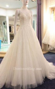 #Valentines #AdoreWe #Dorris Wedding - #Dorris Wedding Illusion High Neck Sleeveless A-Line Tulle Dress With Beaded Bodice - AdoreWe.com