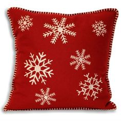 Cushions : Square Christmas Cushion Cover Cream Snowflake design On a Red Background
