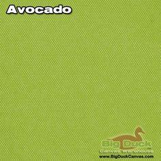 Big Duck Canvas Warehouse - Avocado 10oz Duck Cloth, $6.99 (http://www.bigduckcanvas.com/10-oz-duck-cloth/by-the-yard/avocado)