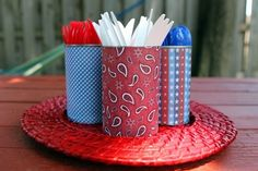 #DIY outdoor utensil holders   Patriotic Party: 4-Minute 4th of July Decorations