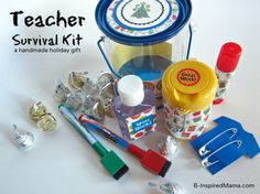 Do you give your childs' teachers gifts for the holidays?  Have you ever given homemade teacher gifts?  Make a Teacher Survival Kit to show your child's teacher appreciation for the Christmas holiday. B-InspiredMama.com