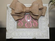 Monogrammed Burlap Frame ~ love it!